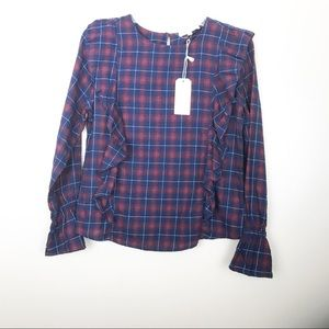 Nordstrom's cotton flannel plaid ruffle blouse XS